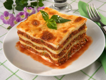 a lasagna with meat